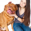 Young girl with Dogue de Bordeaux (French mastiff) — Stock Photo