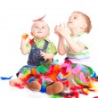 Children is sitting on a flow with feathers — Stock Photo #4028223