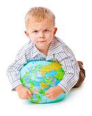 Kind und Globus — Stockfoto