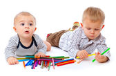 Tho brothers with pencils — Stock Photo