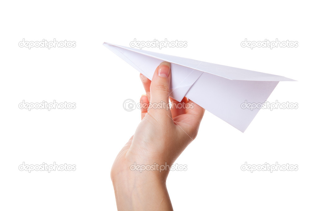 Hand launching paper airplane. Isolated on a white background — Stock Photo #4021065