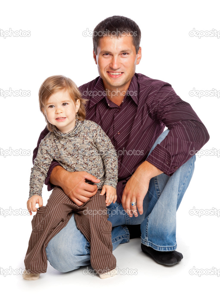 Father and  daughter. Isolated on white background — 图库照片 #4022453