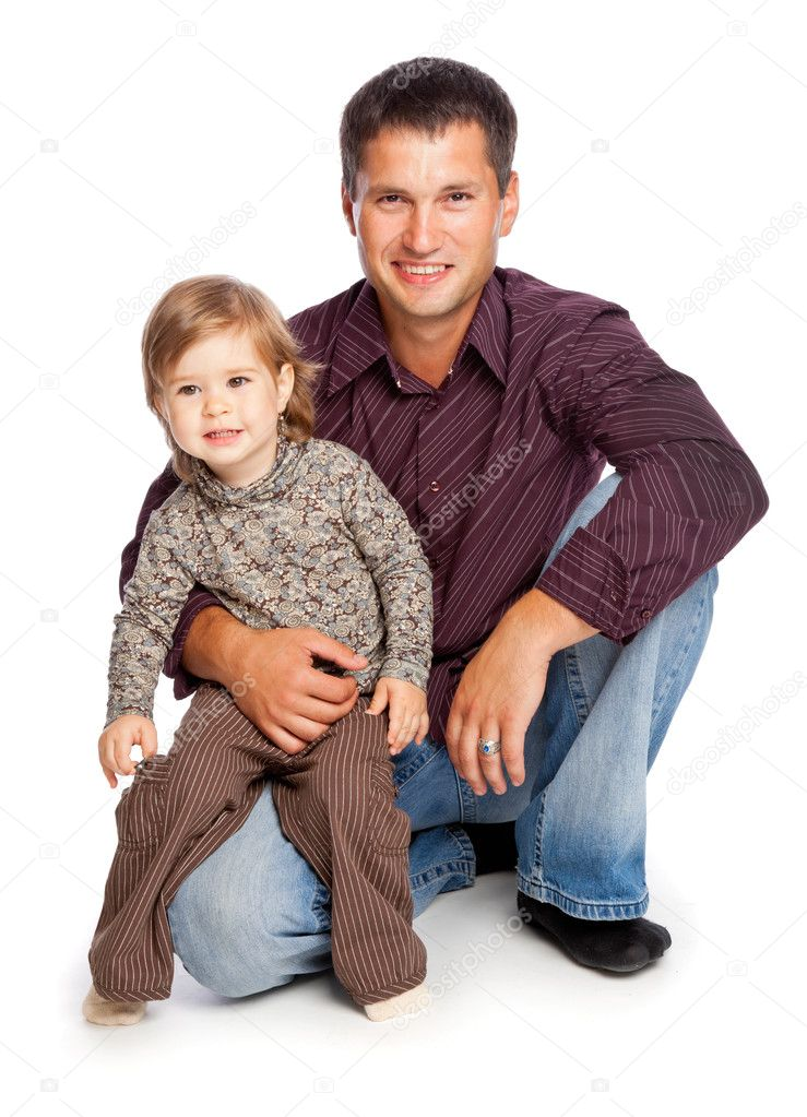 Father and  daughter. Isolated on white background  Photo #4022453