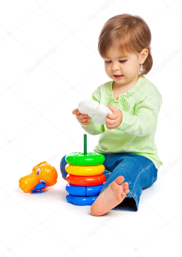 Little Girl Toys : Little girl with toys — stock photo natulrich