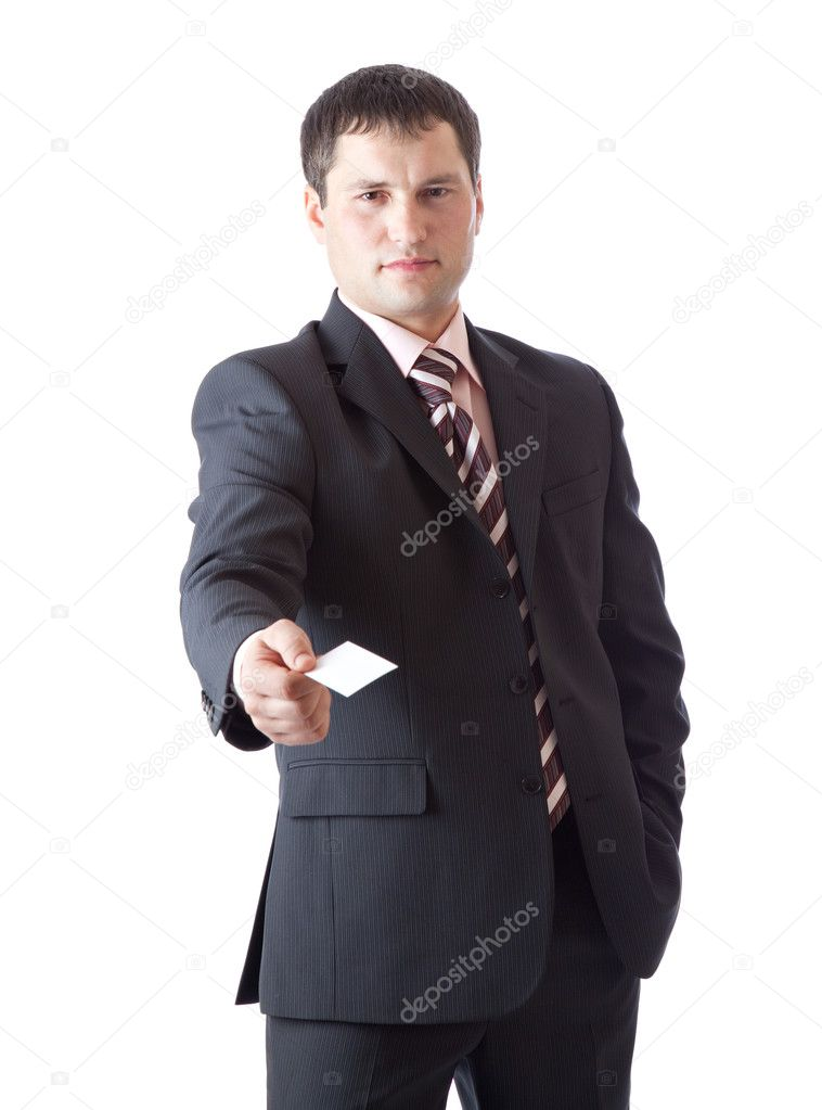 Businessman with card — Stock Photo #4027283