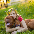 Young girl and her dog — Stock Photo #4030124