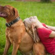 Young girl and her dog — Stock Photo #4030145