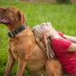 Young girl and her dog — Stock Photo