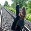 Two girls on railway — Stock Photo #4030685