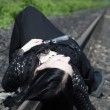 Gothic girl on railway — Stock Photo #4030703