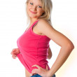 Young attractive woman in miniskirt — Stock Photo