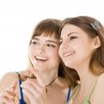 Two teenage girls looking up — Stock Photo