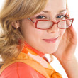 Young blond woman in glasses — Stock Photo