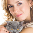 Royalty-Free Stock Photo: Young beautiful woman and kitten