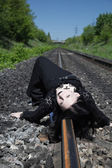 Gothic girl on railway — Stock Photo