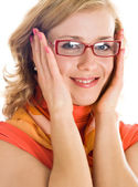 Young blond woman with glasses in hand — Stock Photo