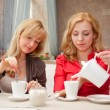 Two young women in cafe — Foto de Stock