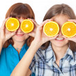 Royalty-Free Stock Photo: Two girls are looking through oranges