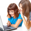 Two teen-girls with laptop — Stock Photo