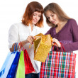 Two teen girls with bags — Stock Photo