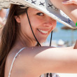 Young woman wearing a cowboys hat — Stock Photo