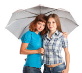 Two teen-girls with umbrella — Stock Photo