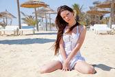 Beautiful girl in white dress — Stock Photo