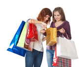 Girls with bright bags — Stock Photo