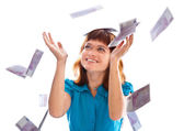 Banknotes of 500 euro are falling on red-haired girl — Stock Photo