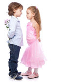 Little boy and girl in love — Stock Photo