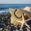Woman in sunglasses is looking to the sea - Stockfoto