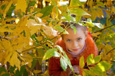 A funny girl is hiding in the leaves — Stock Photo