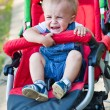 A baby is crying in the pram — Stock Photo #4880555