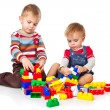 Boys are playing with the lego — Stock Photo