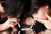 A girl is stabing to her girlfriend a drug — Stock Photo