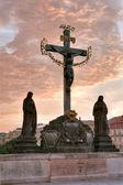 Statue in Prague Charles Bridge — Stock Photo