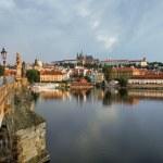Prague Castle and Charles bridge at sunrise — Stock Photo