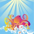 Stock Vector: Octopus in sea foam, vector illustration
