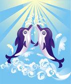 Due delfini danza — Vettoriale Stock