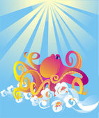 Octopus in sea foam, vector illustration — Stock Vector