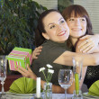 Stock Photo: Two happy friends in restaurant