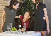Jealousy scene in restaurant — Stock Photo