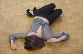 Unconscious woman on the ground — Stock Photo