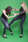Low kick in self defence — Stock Photo