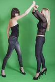 Woman blocks a punch — Stock Photo