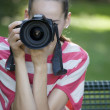 Woman Taking Picture - Stock Photo