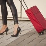 Постер, плакат: Woman with luggage