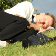Stock Photo: Businessmsleeping in park