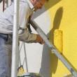 pintor com trabalho de rolo — Foto Stock