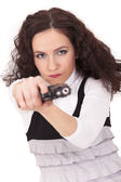 Woman aiming with gun — Stock Photo